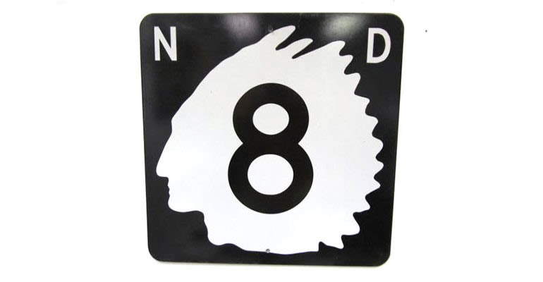 Lot# 6353 -  Highly prized 1950's North Dakota Highway 8 metal road sign.